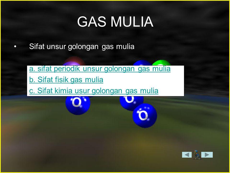GAS MULIA Sifat unsur golongan gas mulia