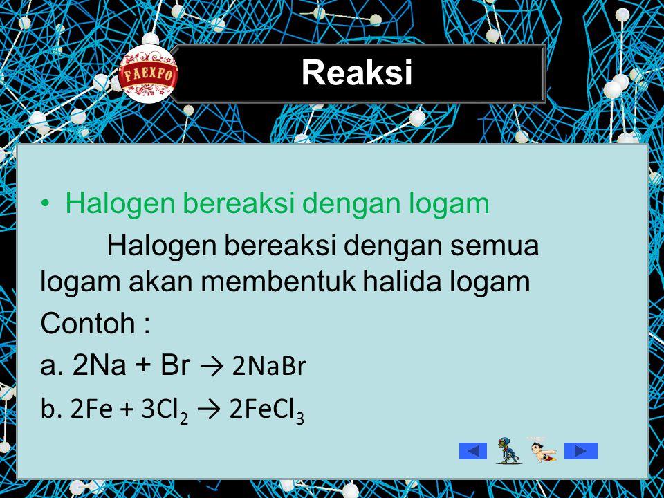 Reaksi Halogen bereaksi dengan logam