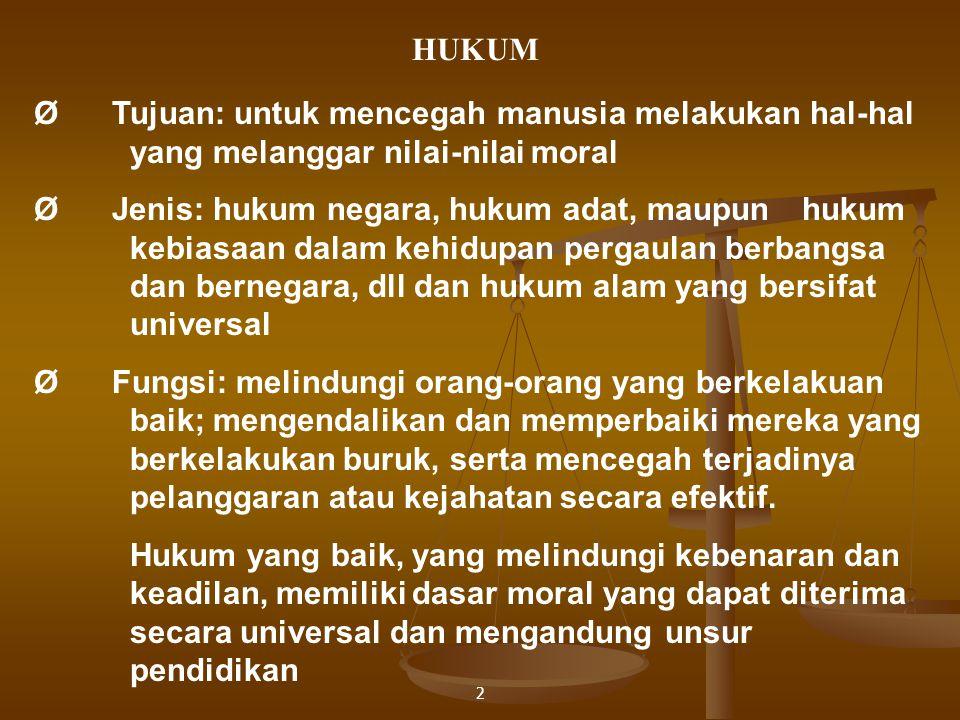 HUKUM Ø Tujuan: untuk mencegah manusia melakukan hal-hal yang melanggar nilai-nilai moral.