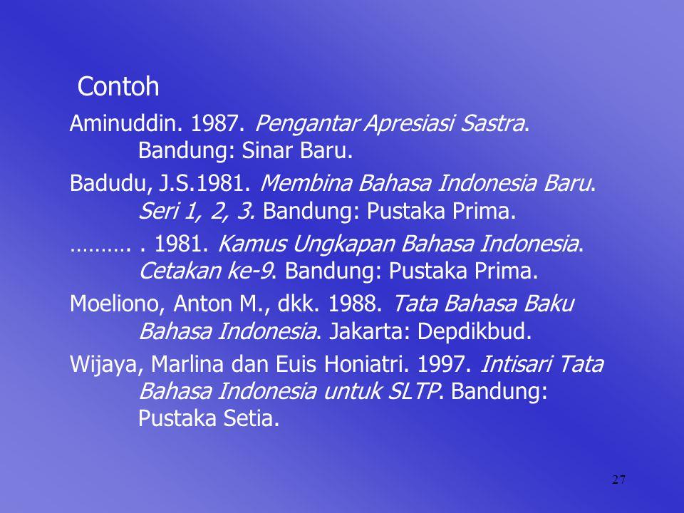 Contoh Aminuddin. 1987. Pengantar Apresiasi Sastra. Bandung: Sinar Baru.