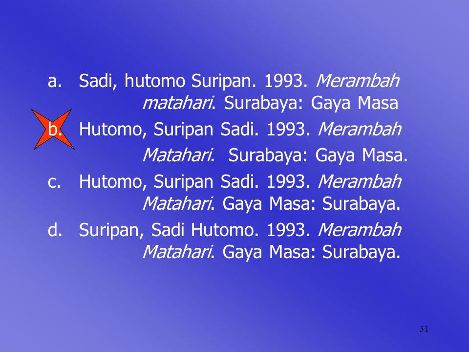 Sadi, hutomo Suripan. 1993. Merambah matahari. Surabaya: Gaya Masa