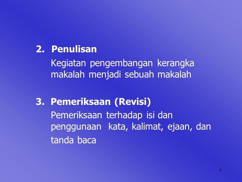 2. Penulisan Kegiatan pengembangan kerangka makalah menjadi sebuah makalah. 3. Pemeriksaan (Revisi)