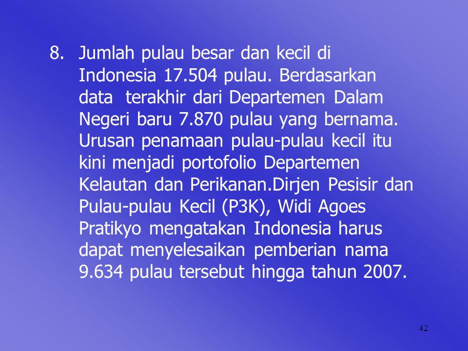 8. Jumlah pulau besar dan kecil di. Indonesia 17. 504 pulau