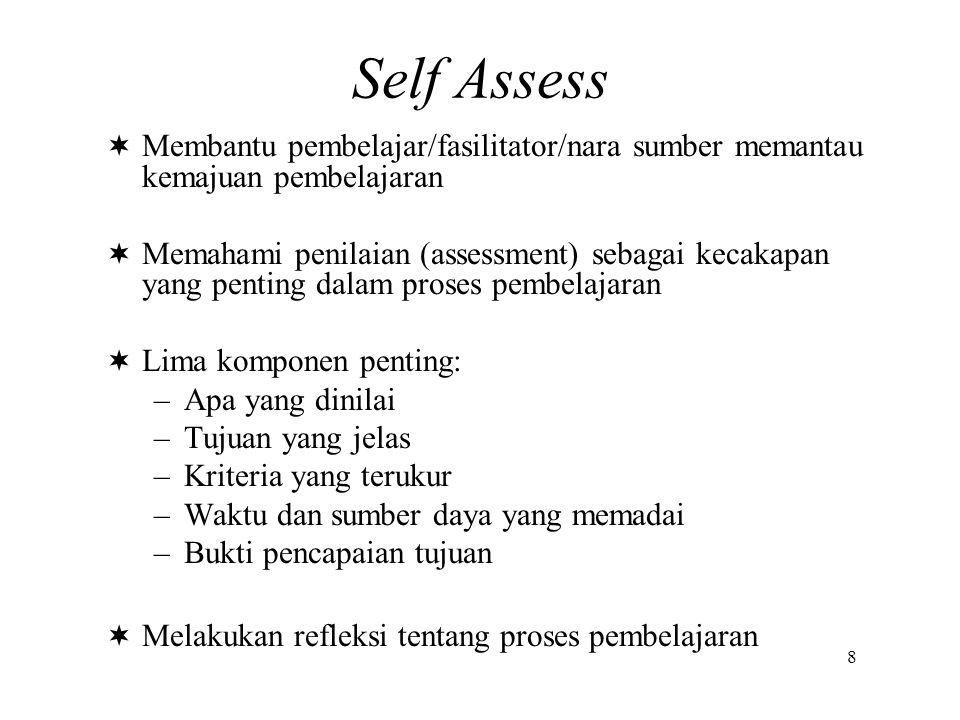 Self Assess Membantu pembelajar/fasilitator/nara sumber memantau kemajuan pembelajaran.