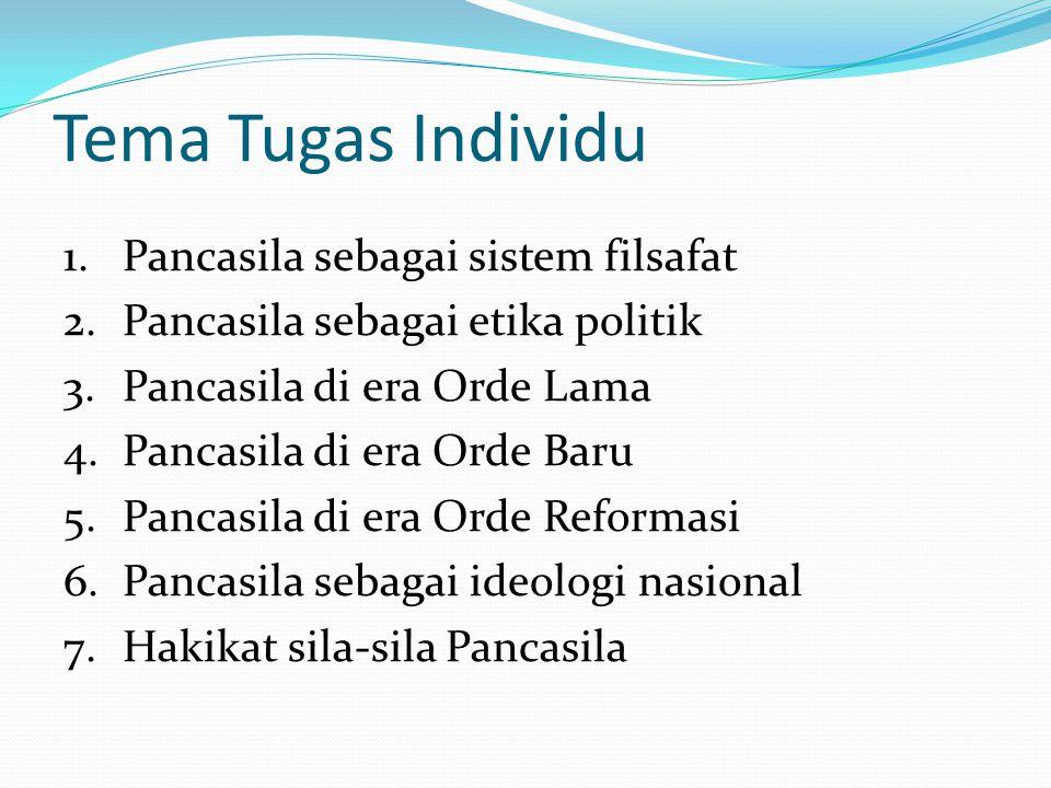 Tema Tugas Individu Pancasila sebagai sistem filsafat