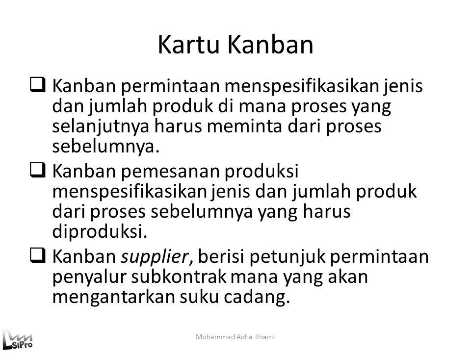 Kartu Kanban Kanban permintaan menspesifikasikan jenis dan jumlah produk di mana proses yang selanjutnya harus meminta dari proses sebelumnya.