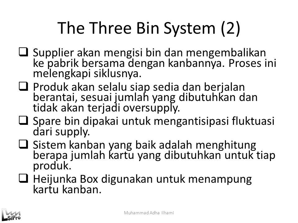 The Three Bin System (2) Supplier akan mengisi bin dan mengembalikan ke pabrik bersama dengan kanbannya. Proses ini melengkapi siklusnya.