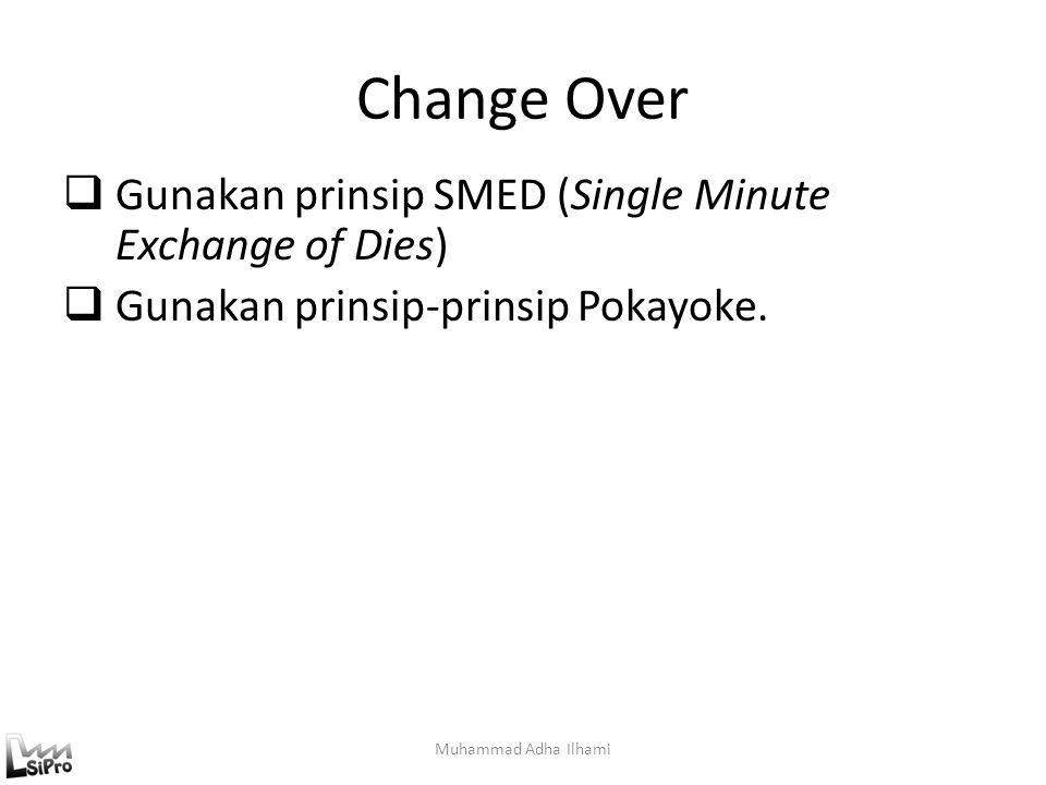 Change Over Gunakan prinsip SMED (Single Minute Exchange of Dies)