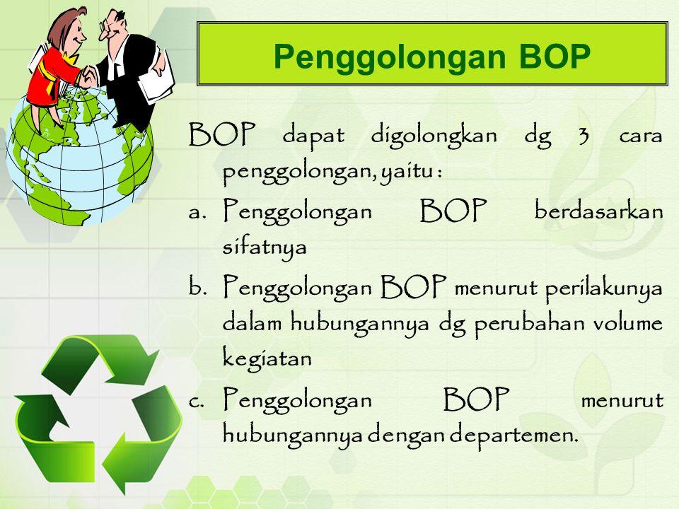Penggolongan BOP BOP dapat digolongkan dg 3 cara penggolongan, yaitu :