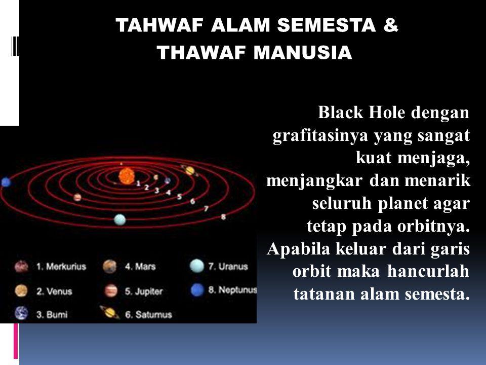 TAHWAF ALAM SEMESTA & THAWAF MANUSIA. Black Hole dengan grafitasinya yang sangat kuat menjaga, menjangkar dan menarik seluruh planet agar.