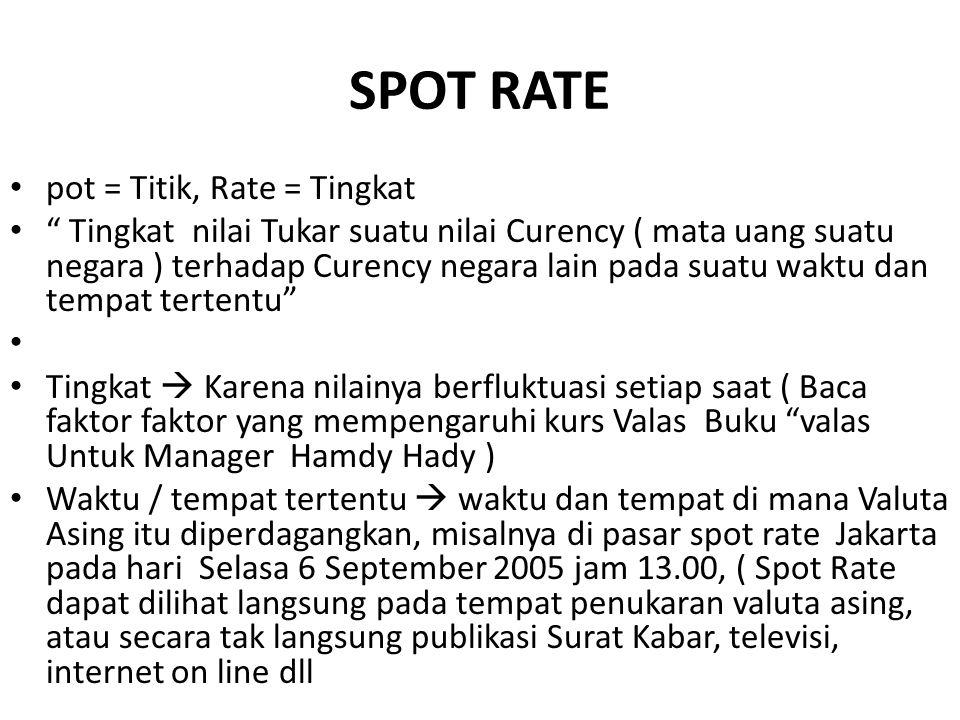 SPOT RATE pot = Titik, Rate = Tingkat
