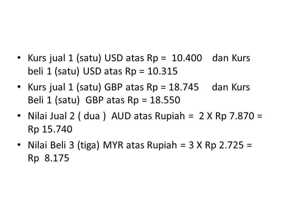 Kurs jual 1 (satu) USD atas Rp = 10