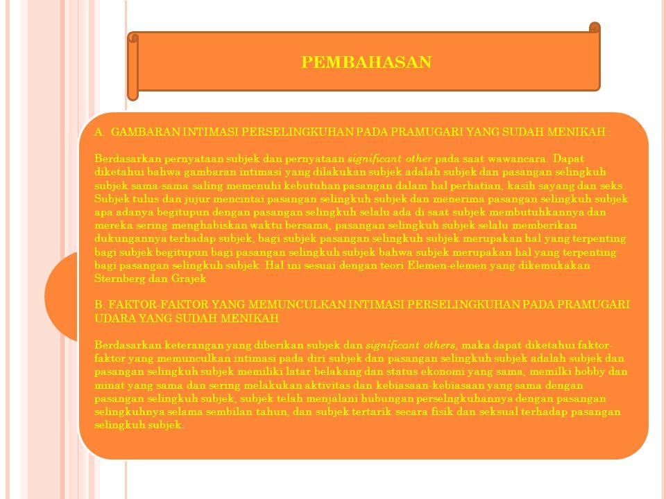 PEMBAHASAN GAMBARAN INTIMASI PERSELINGKUHAN PADA PRAMUGARI YANG SUDAH MENIKAH :
