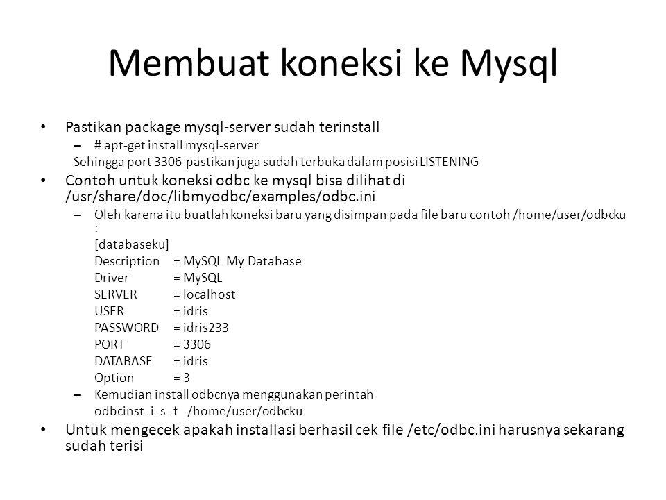 Membuat koneksi ke Mysql