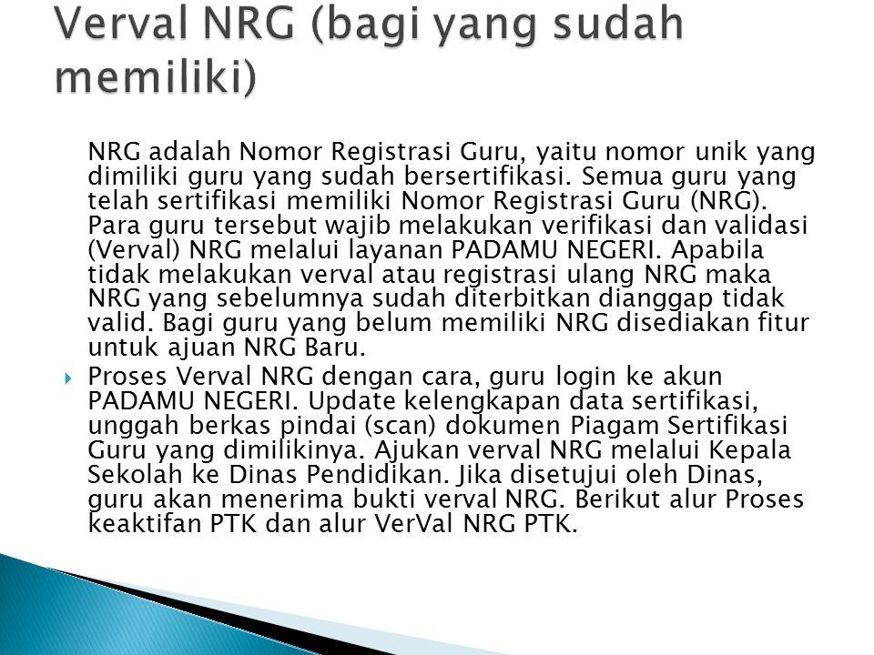 Verval NRG (bagi yang sudah memiliki)