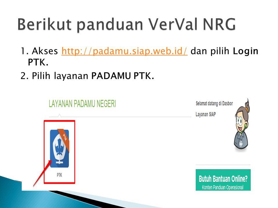 Berikut panduan VerVal NRG