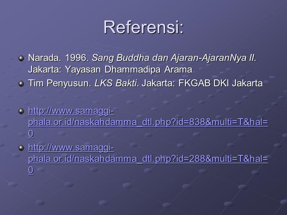 Referensi: Narada. 1996. Sang Buddha dan Ajaran-AjaranNya II. Jakarta: Yayasan Dhammadipa Arama. Tim Penyusun. LKS Bakti. Jakarta: FKGAB DKI Jakarta.