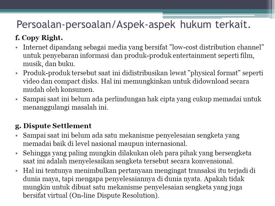 Persoalan-persoalan/Aspek-aspek hukum terkait.