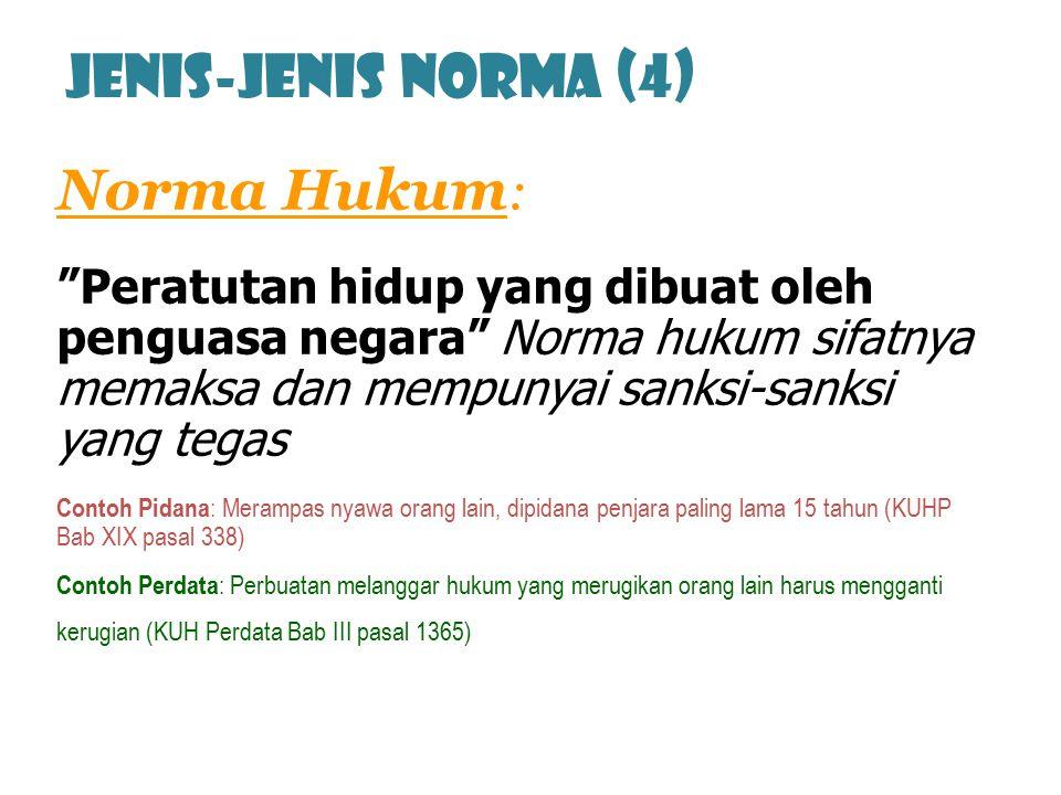Jenis-jenis norma (4) Norma Hukum: