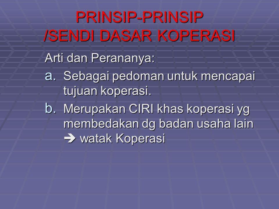 PRINSIP-PRINSIP /SENDI DASAR KOPERASI