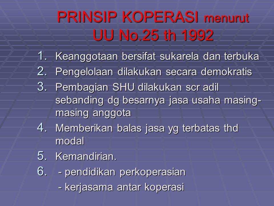 PRINSIP KOPERASI menurut UU No.25 th 1992