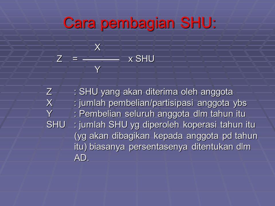 Cara pembagian SHU: X Z = x SHU Y