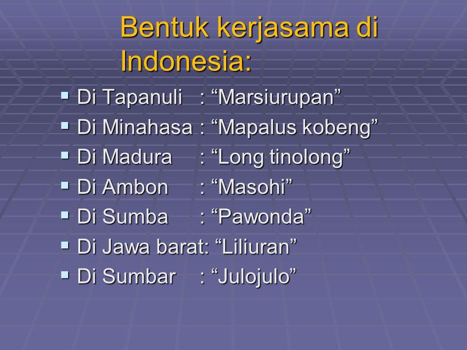 Bentuk kerjasama di Indonesia: