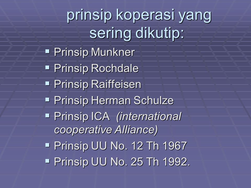 prinsip koperasi yang sering dikutip: