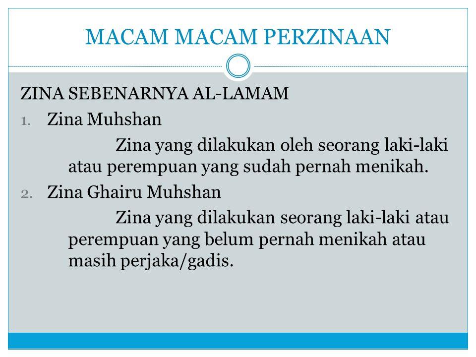 MACAM MACAM PERZINAAN ZINA SEBENARNYA AL-LAMAM Zina Muhshan