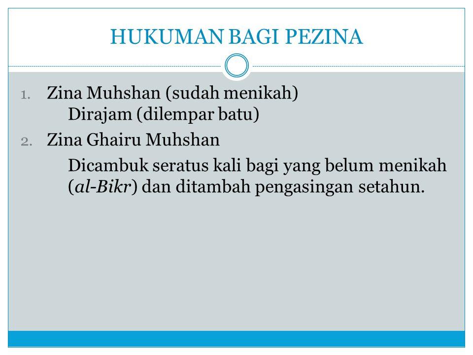 HUKUMAN BAGI PEZINA Zina Muhshan (sudah menikah) Dirajam (dilempar batu) Zina Ghairu Muhshan.