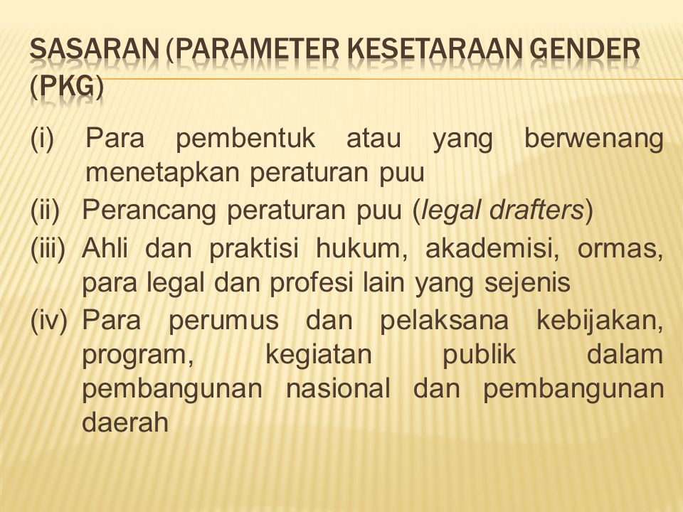 SASARAN (parameter kesetaraan gender (PKG)