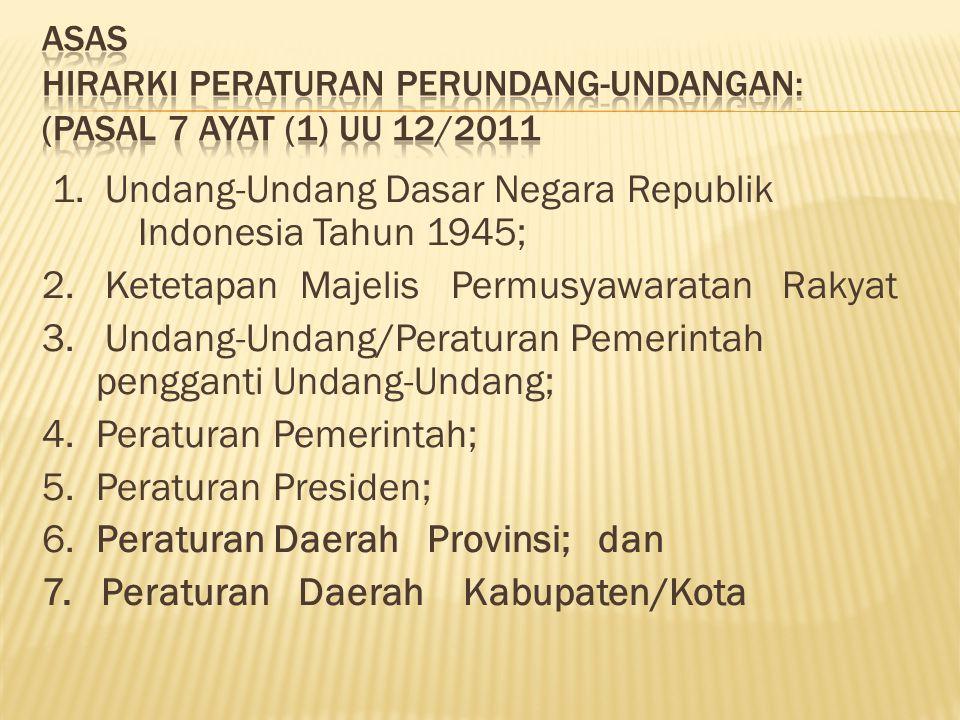 Asas Hirarki peraturan perundang-undangan: (Pasal 7 ayat (1) UU 12/2011