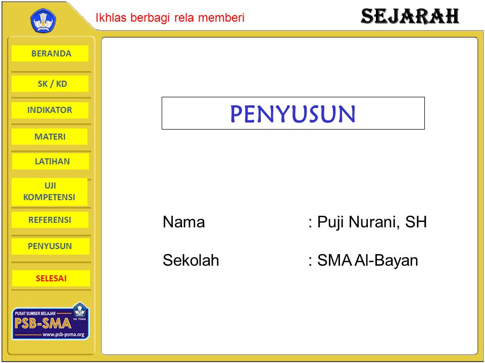 PENYUSUN Nama : Puji Nurani, SH Sekolah : SMA Al-Bayan