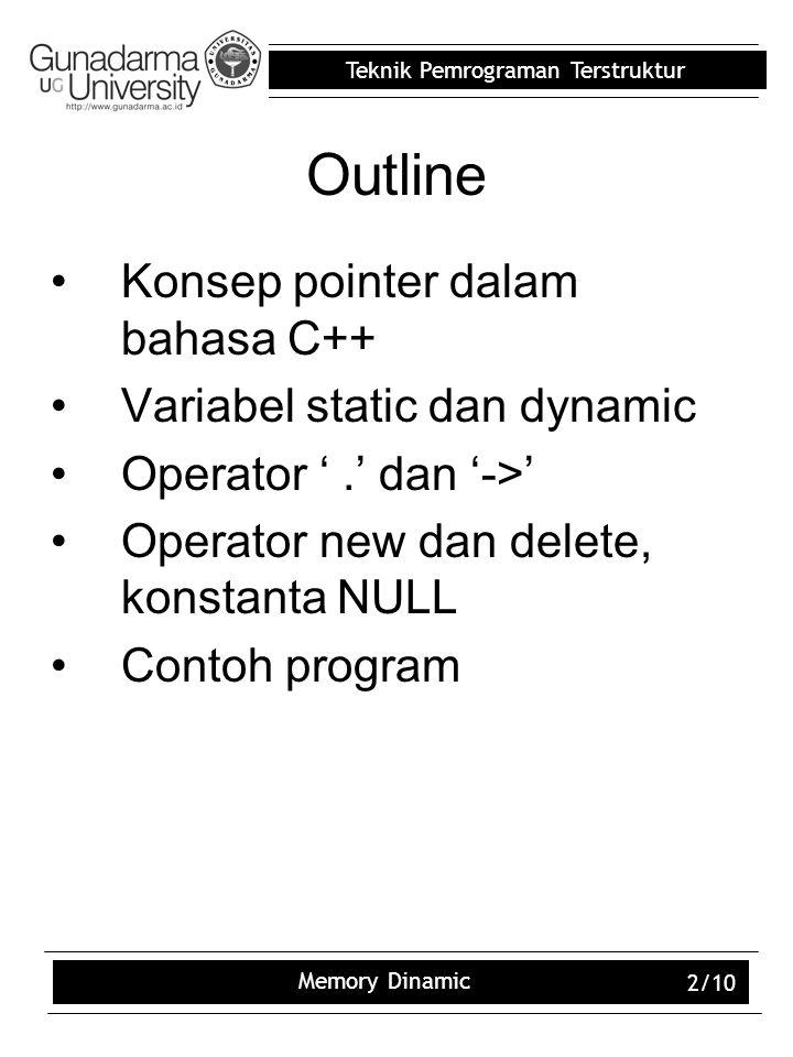 Outline Konsep pointer dalam bahasa C++ Variabel static dan dynamic