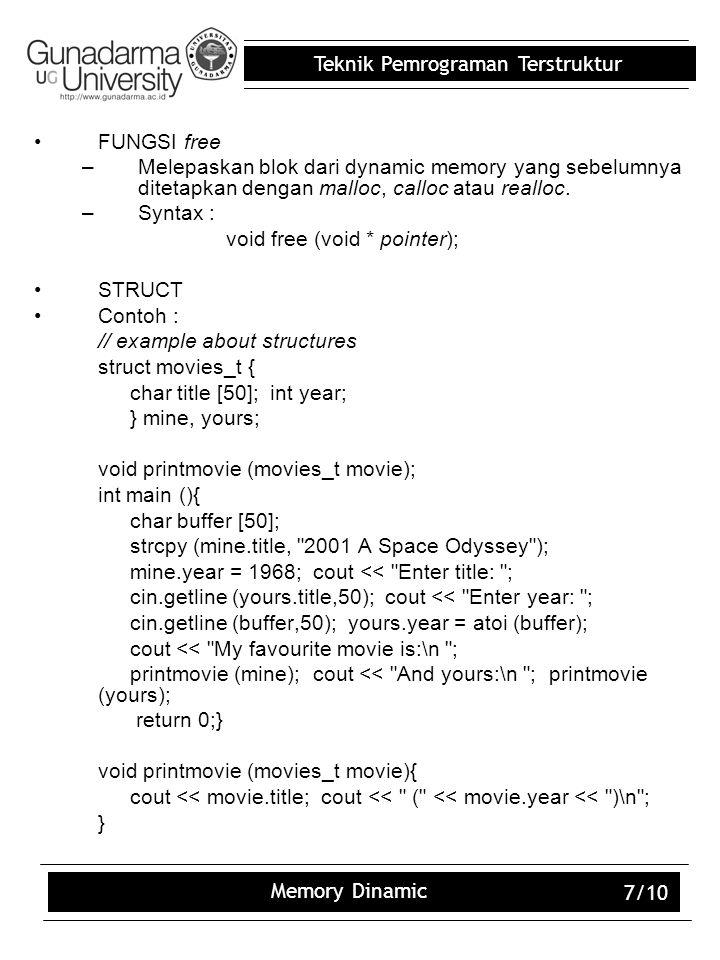 FUNGSI free Melepaskan blok dari dynamic memory yang sebelumnya ditetapkan dengan malloc, calloc atau realloc.