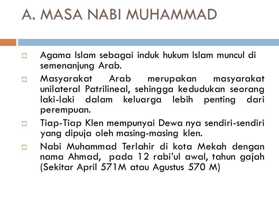 A. MASA NABI MUHAMMAD Agama Islam sebagai induk hukum Islam muncul di semenanjung Arab.
