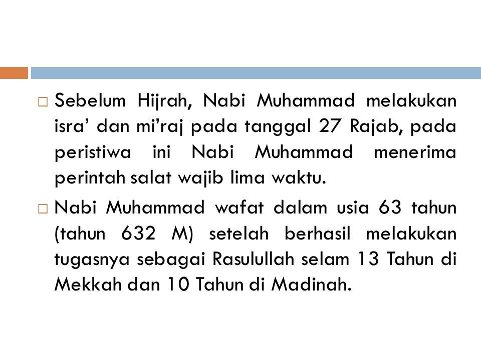 Sebelum Hijrah, Nabi Muhammad melakukan isra' dan mi'raj pada tanggal 27 Rajab, pada peristiwa ini Nabi Muhammad menerima perintah salat wajib lima waktu.