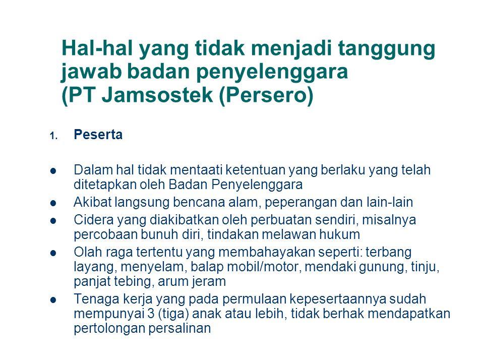 Hal-hal yang tidak menjadi tanggung jawab badan penyelenggara (PT Jamsostek (Persero)
