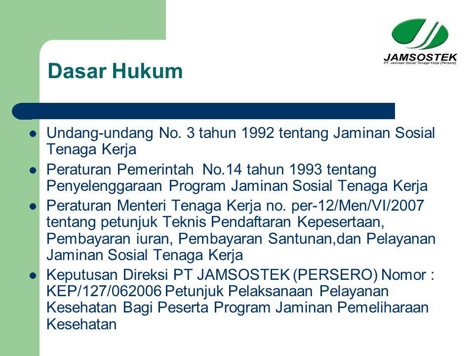 Dasar Hukum Undang-undang No. 3 tahun 1992 tentang Jaminan Sosial Tenaga Kerja.