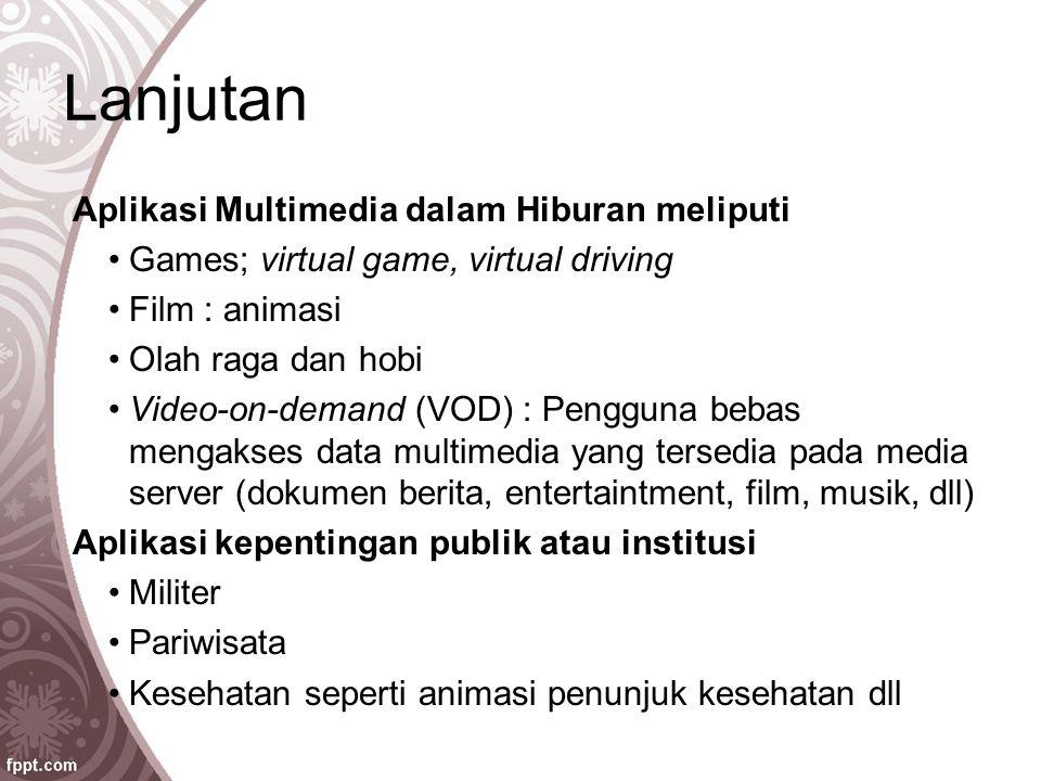 Lanjutan Aplikasi Multimedia dalam Hiburan meliputi