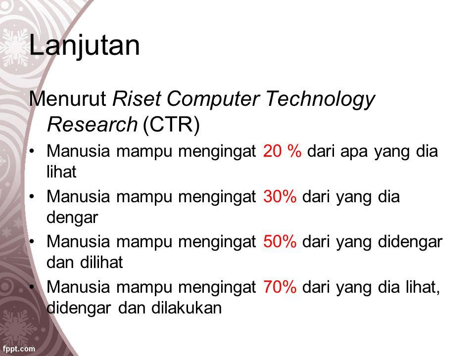 Lanjutan Menurut Riset Computer Technology Research (CTR)