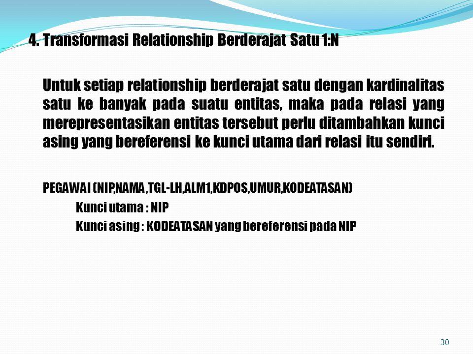 4. Transformasi Relationship Berderajat Satu 1:N
