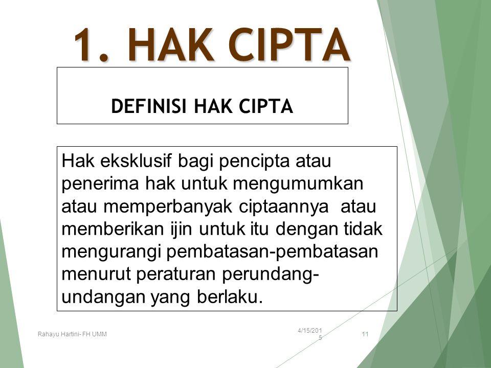 1. HAK CIPTA DEFINISI HAK CIPTA