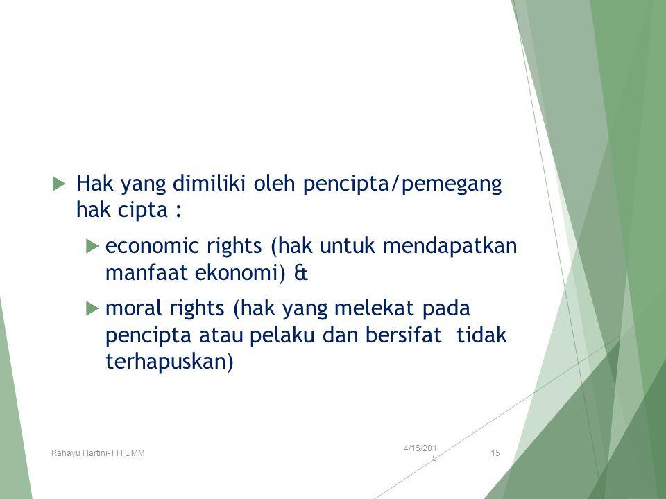 Hak yang dimiliki oleh pencipta/pemegang hak cipta :