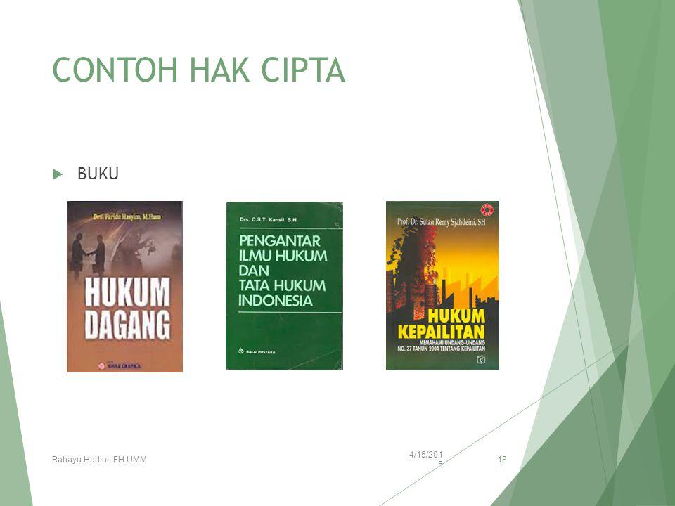 CONTOH HAK CIPTA BUKU Rahayu Hartini- FH UMM 4/12/20174/12/2017