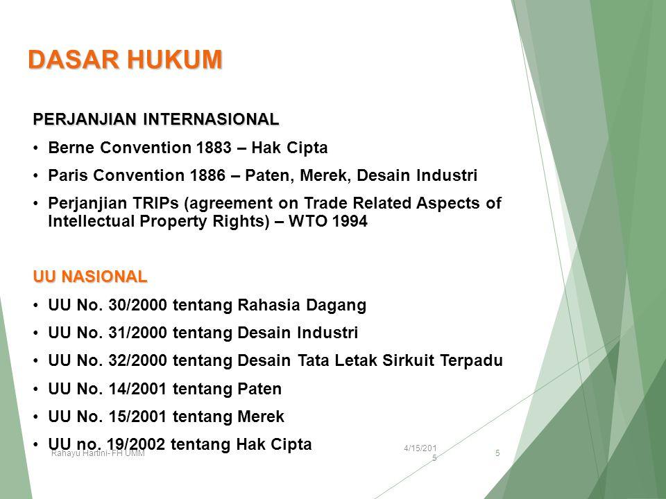 DASAR HUKUM PERJANJIAN INTERNASIONAL Berne Convention 1883 – Hak Cipta