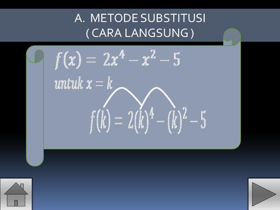 METODE SUBSTITUSI ( CARA LANGSUNG )