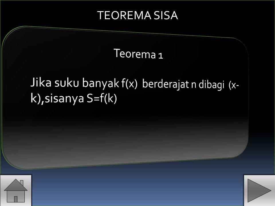 TEOREMA SISA Teorema 1 Jika suku banyak f(x) berderajat n dibagi (x-k),sisanya S=f(k)