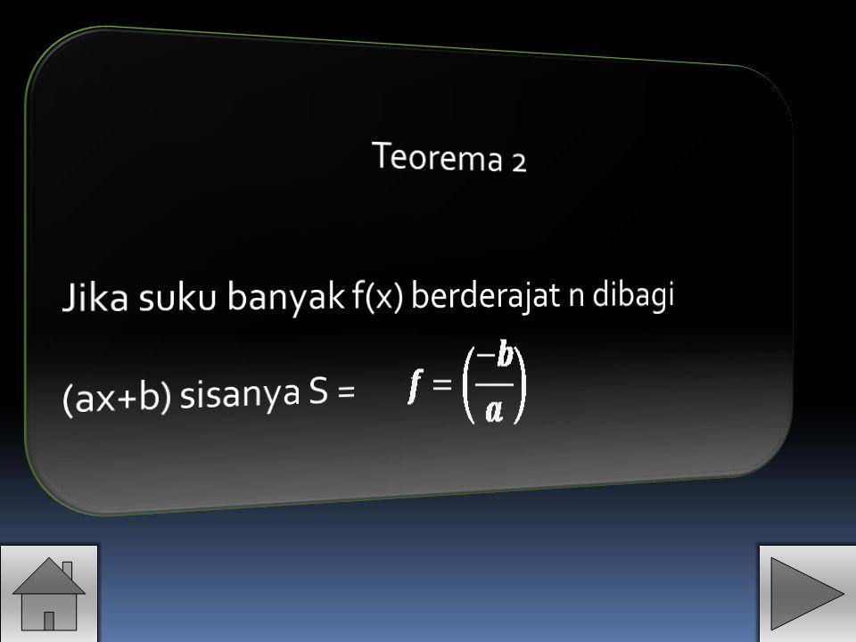 Teorema 2 Jika suku banyak f(x) berderajat n dibagi (ax+b) sisanya S =