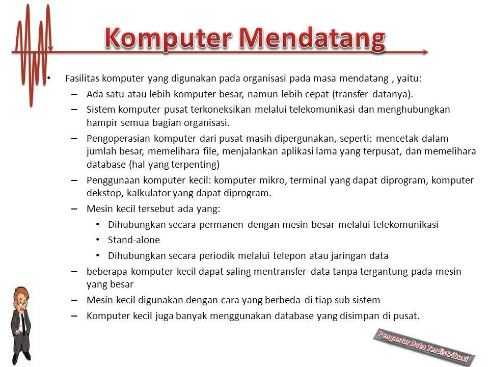 Komputer Mendatang Fasilitas komputer yang digunakan pada organisasi pada masa mendatang , yaitu:
